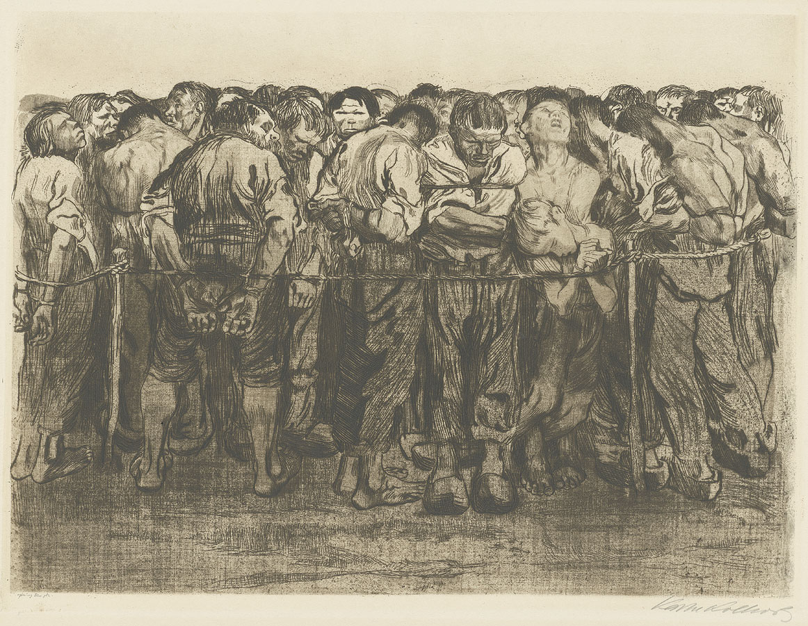 Käthe Kollwitz, The Prisoners, folio 7 from the cycle »Peasants War«, 1908, line etching, drypoint, emery, vernis mou with screen printing of cloth and Ziegler transfer paper, Kn 102 IX a, Cologne Kollwitz Collection © Käthe Kollwitz Museum Köln