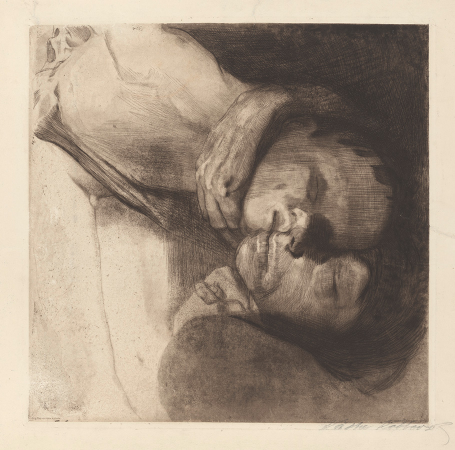 Käthe Kollwitz, Death, Woman and Child, 1910, line etching, drypoint, emery and vernis mou with screen printing of laid paper and Ziegler transfer paper, Kn 108 XIII, Cologne Kollwitz Collection © Käthe Kollwitz Museum Köln