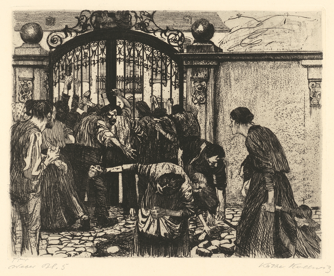 Käthe Kollwitz, Storming the Gate, folio 5 from the cycle »A Weavers' Revolt« (1893-1897), line etching and emery, Kn 37, Cologne Kollwitz Collection © Käthe Kollwitz Museum Köln