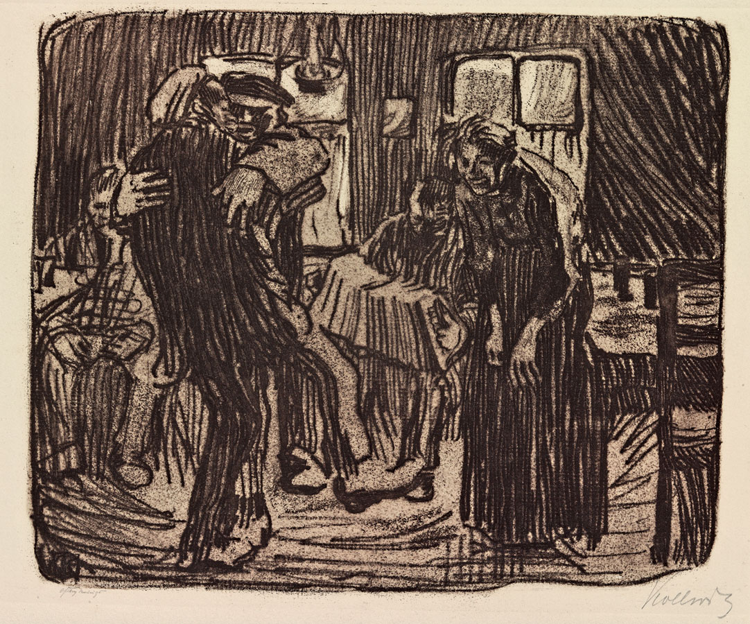 Käthe Kollwitz, Tavern in Hamburg, 1901, vernis mou with silk screening of ribbed laid paper, line etching and emery, Kn 55, Cologne Kollwitz Collection © Käthe Kollwitz Museum Köln