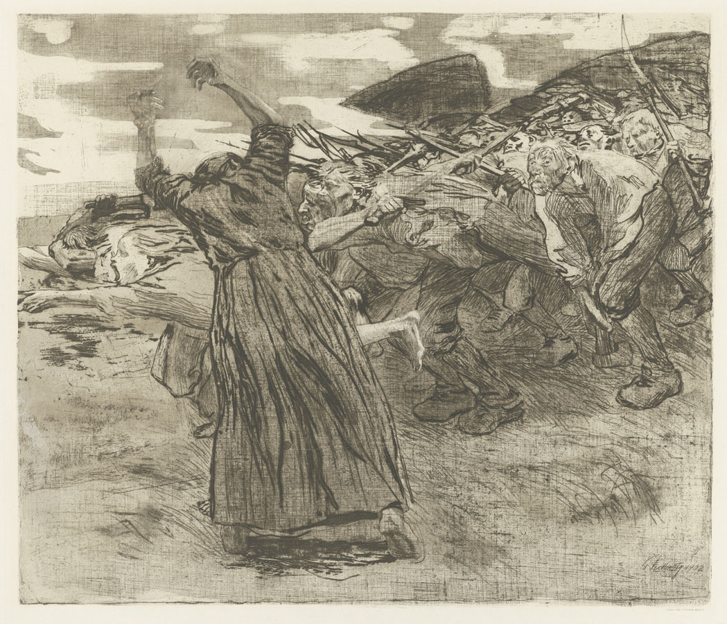 Käthe Kollwitz, Charge, folio 5 from the cycle »Peasants' War«, 1902/03, line etching, drypoint, aquatint, reservage, vernis mou with screen printing of two meshes and Ziegler transfer paper, Kn 70 VIII b, Cologne Kollwitz Collection © Käthe Kollwitz Museum Köln