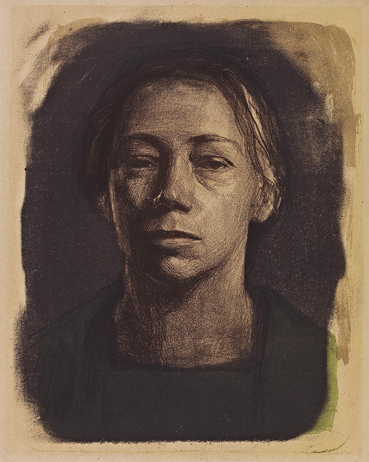 Käthe Kollwitz, self-portrait, frontal view, c 1904, chalk and brush lithograph in four colours and spraying technique, Kn 85, Cologne Kollwitz Collection © Käthe Kollwitz Museum Köln