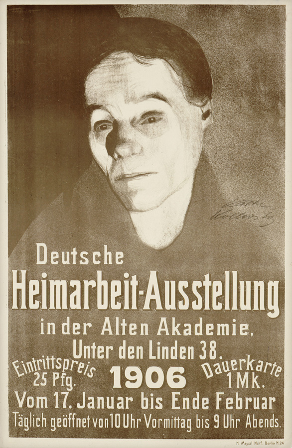 Käthe Kollwitz, poster of the German Cottage Industry Exhibition in Berlin in 1906, 1906, chalk and brush lithograph with spraying technique and scraper, Kn 95 III, Cologne Kollwitz Collection © Käthe Kollwitz Museum Köln