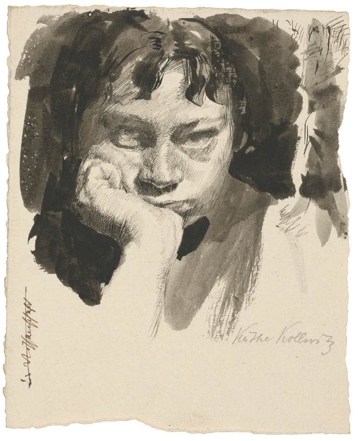 Käthe Kollwitz, Self-portrait, head supported, 1889-91, pen and ink in blackish-brown on laid paper, NT 25, Cologne Kollwitz collection © Käthe Kollwitz Museum Köln