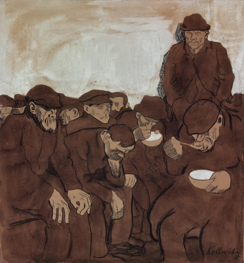 Käthe Kollwitz, Warm Shelter, 1908/09, black chalk, pen and brush in ink and sepia on olive-green paper, background with highlights in white, NT (469a), Cologne Kollwitz Collection © Käthe Kollwitz Museum Köln