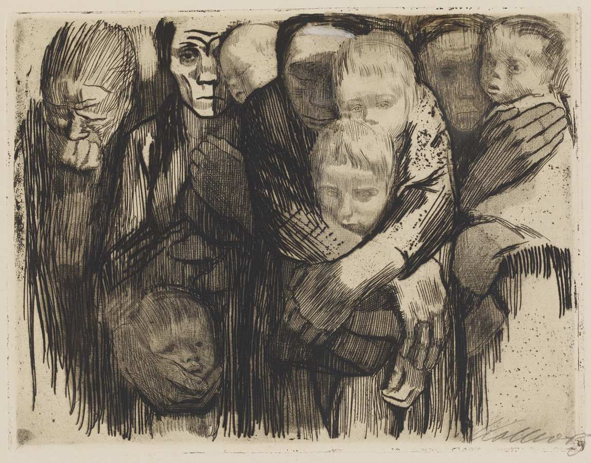 Käthe Kollwitz, Mothers, 1918, line etching, emery, vernis mou with screen printing of laid paper, bundle of needles, Kn 137 III, Cologne Kollwitz Collection © Käthe Kollwitz Museum Köln