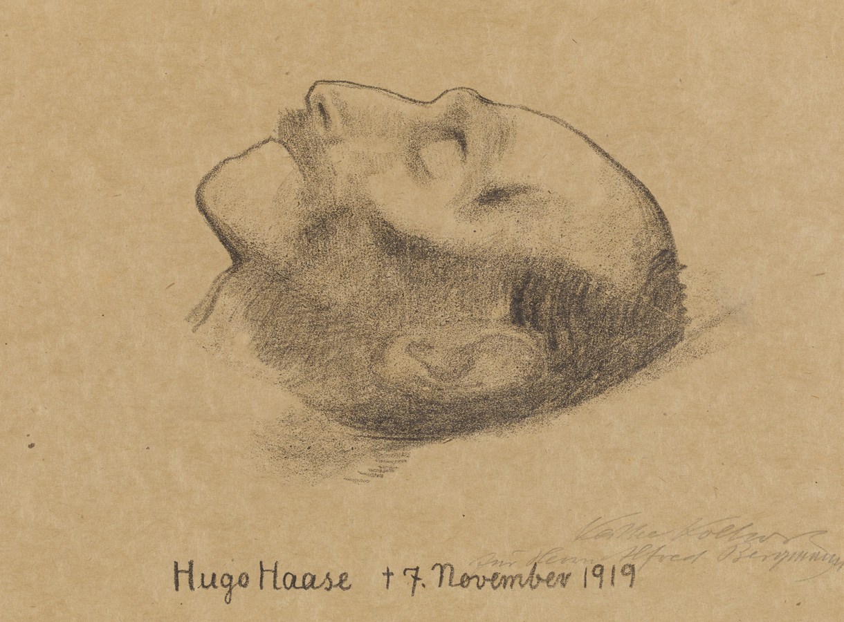 Käthe Kollwitz, Hugo Haase sur son lit de mort, 1919, lithographie au crayon en deux couleurs, Kn 147, collection Kollwitz de Cologne © Käthe Kollwitz Museum Köln