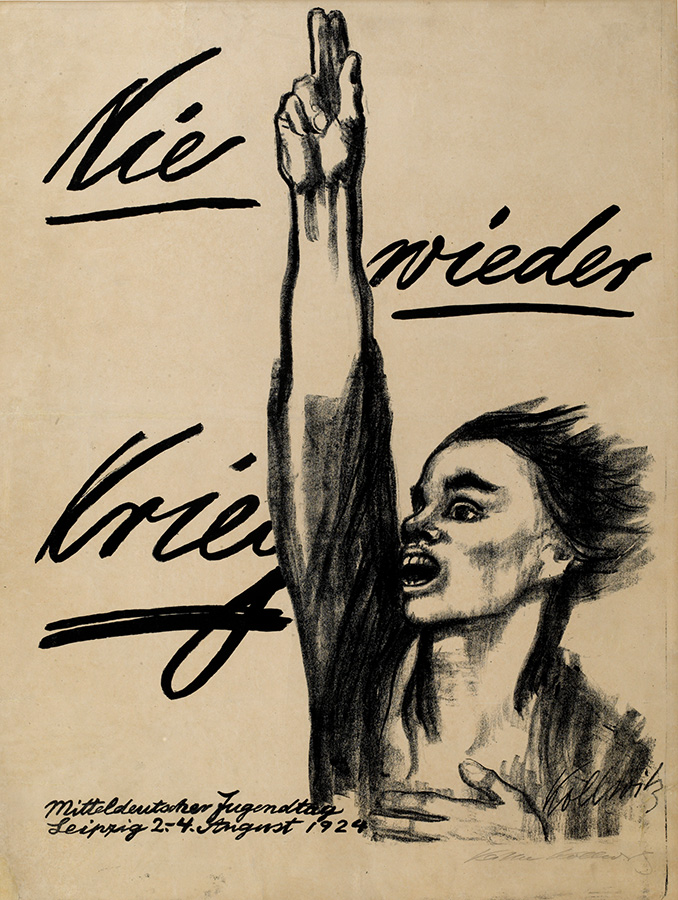 Käthe Kollwitz, Never Again War, 1924, chalk and brush lithograph, poster for the Central German Youth Day in Leipzig on 2-4 August 1924, Kn 205 IIIb, Cologne Kollwitz Collection © Käthe Kollwitz Museum Köln