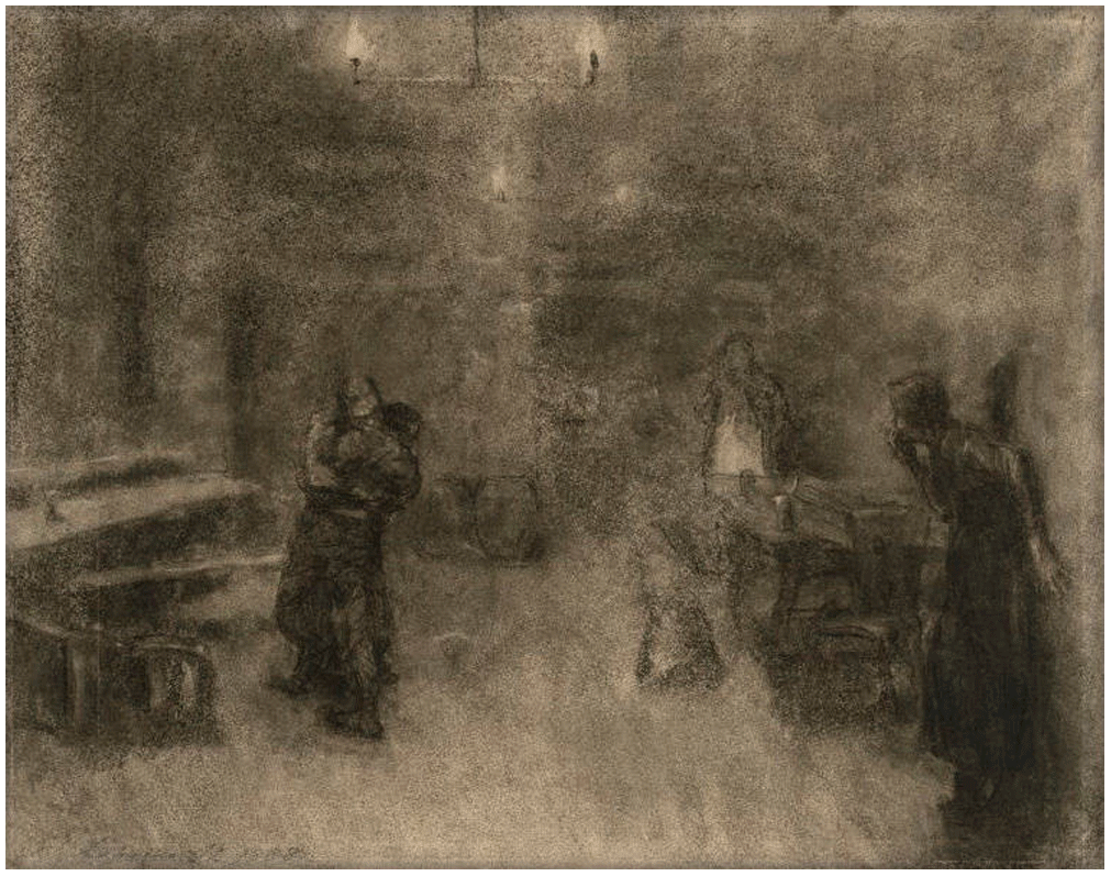 Käthe Kollwitz, Two Men Fighting in a Tavern, charcoal and brown chalk, stumped, pen and sepia on manila paper, 1888, Print Room, Dresden, NT 9
