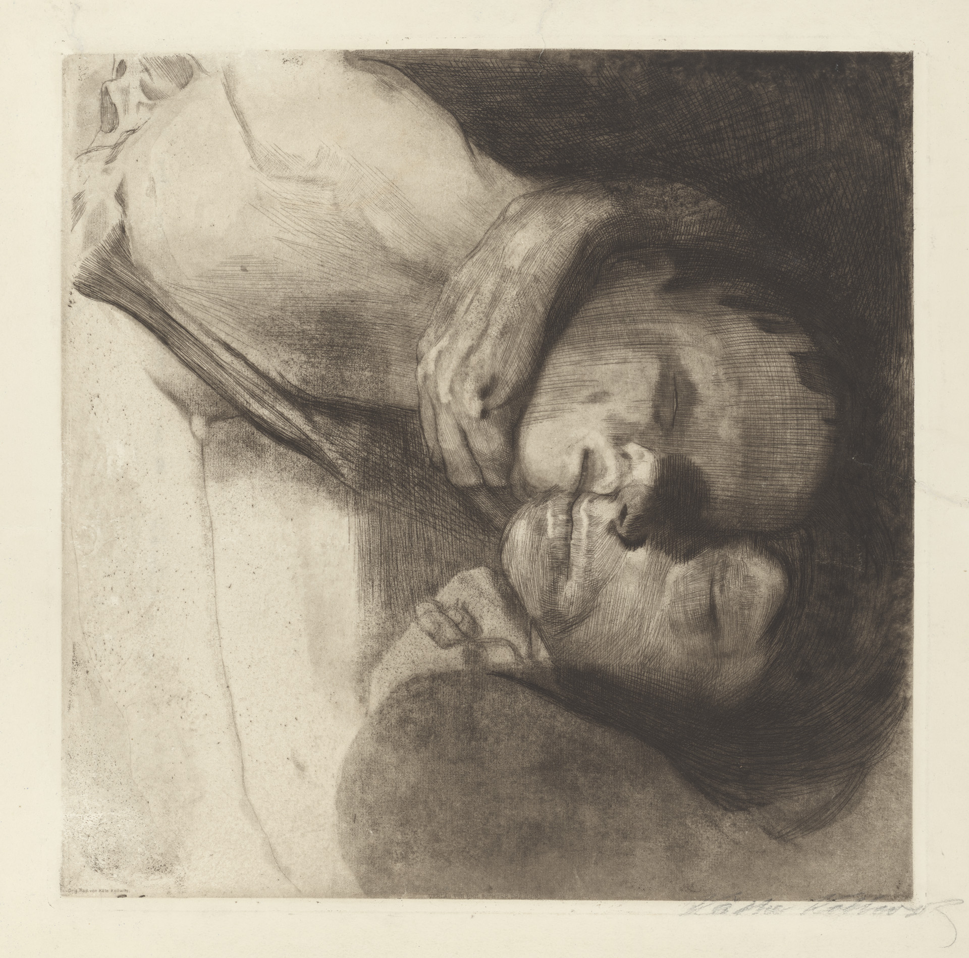 Käthe Kollwitz, Death, Woman and Child, 1910, line etching, drypoint, sandpaper and vernis mou with imprint of laid paper and Ziegler's transfer paper, Kn 108 XIII, Cologne Kollwitz Collection © Käthe Kollwitz Museum Köln