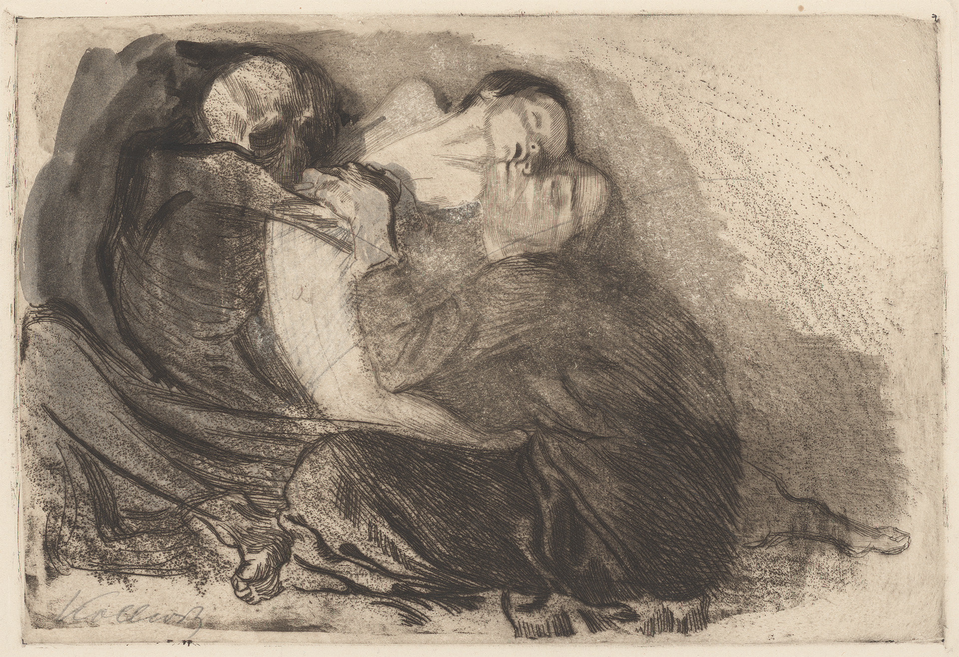 Käthe Kollwitz, Death snatching a Sick Child from its Mother, rejected plate, 1911, line etching, drypoint and sandpaper, Kn 119 II, Cologne Kollwitz Collection © Käthe Kollwitz Museum Köln