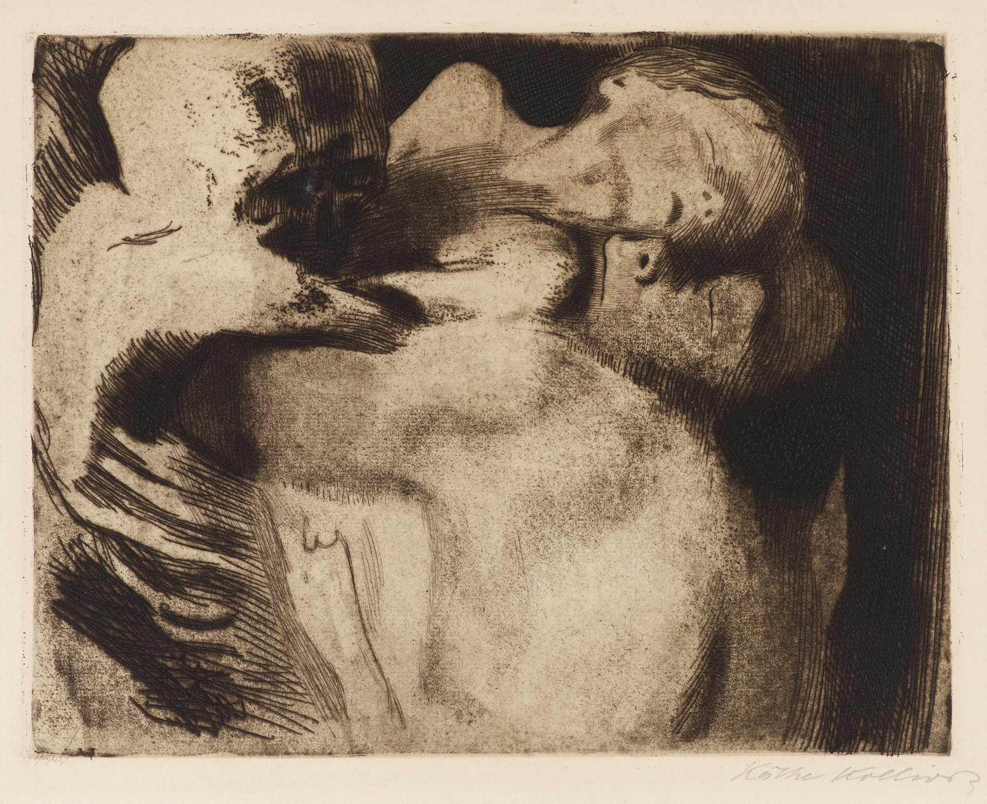 Käthe Kollwitz, Death and Woman wrestling over a Child, 1911, line etching, drypoint, sandpaper and vernis mou with imprint of laid paper, Kn 121 IX b, Cologne Kollwitz Collection © Käthe Kollwitz Museum Köln