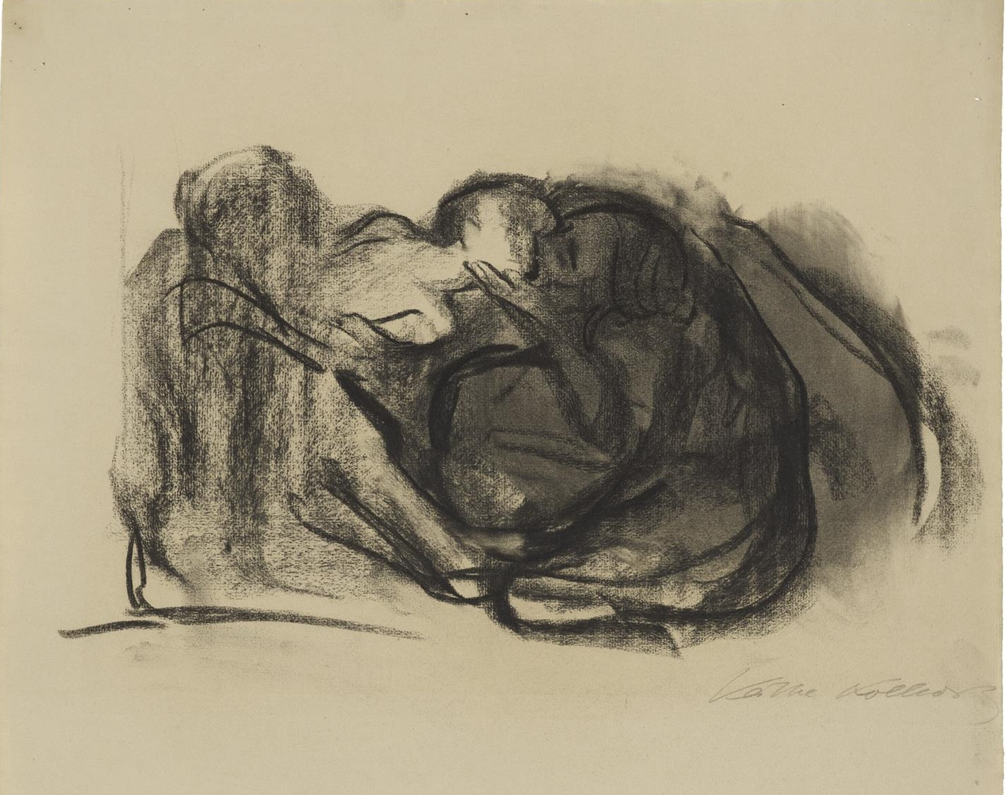Käthe Kollwitz, Death snatching a Child from its Mother, 1911, charcoal, blotted, on Ingres paper, NT 634, Cologne Kollwitz Collection © Käthe Kollwitz Museum Köln