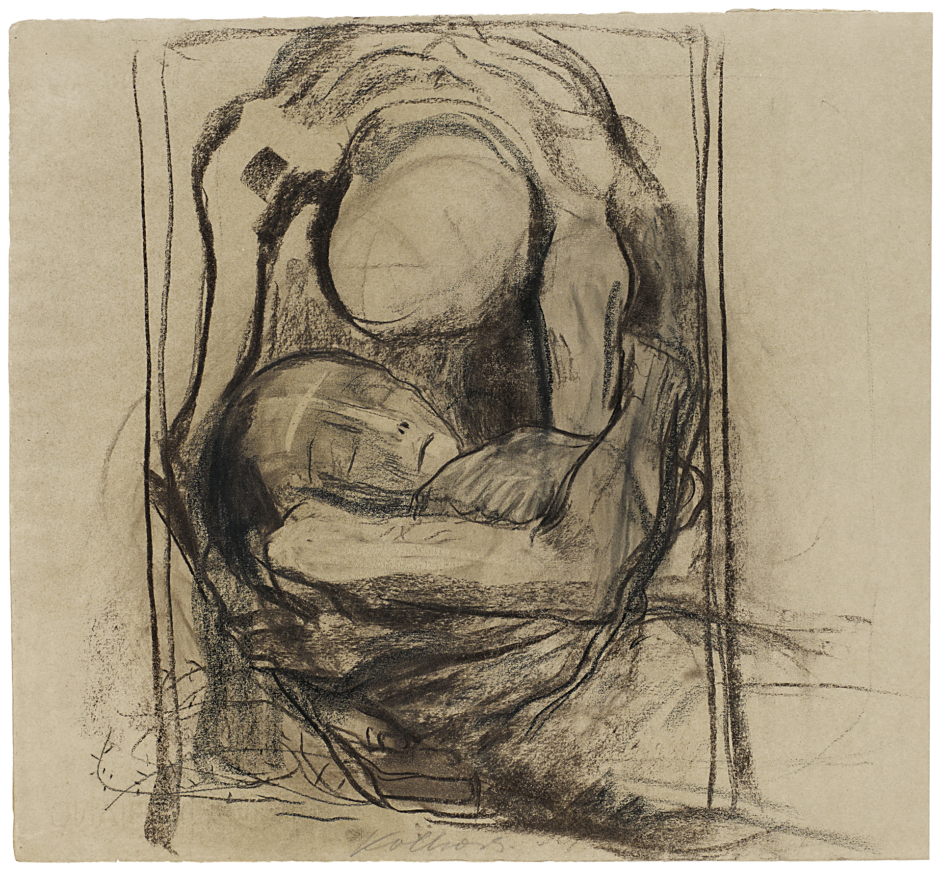 Käthe Kollwitz, Death takes a Woman, 1921/1922, charcoal, black and brown crayon, blotted, on olive-brown laid paper, NT 885, Cologne Kollwitz Collection © Käthe Kollwitz Museum Köln