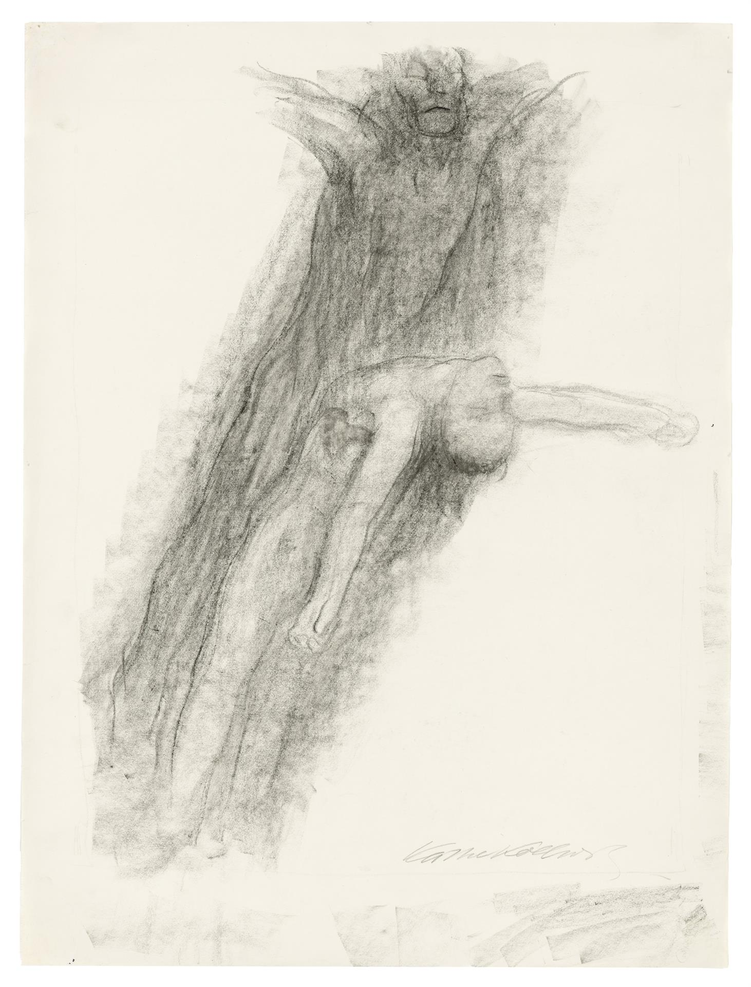 Käthe Kollwitz, Death and young Man, gliding upwards, c. 1922/1923, black crayon, blotted, on drawing paper, NT 963, Cologne Kollwitz Collection © Käthe Kollwitz Museum Köln