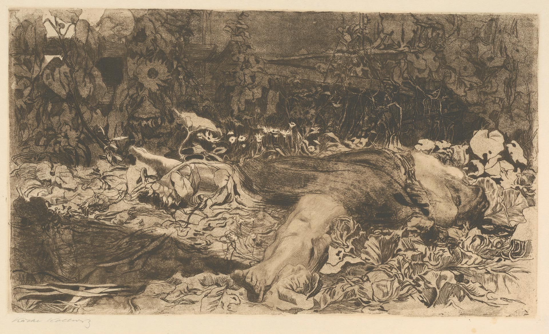 Käthe Kollwitz, Raped, sheet 2 of the cycle »Peasants War«, 1907/1908, line etching, drypoint, sandpaper, reservage and soft ground with imprint of fabric and Ziegler's transfer paper, Kn 101 V a, Cologne Kollwitz Collection © Käthe Kollwitz Museum Köln