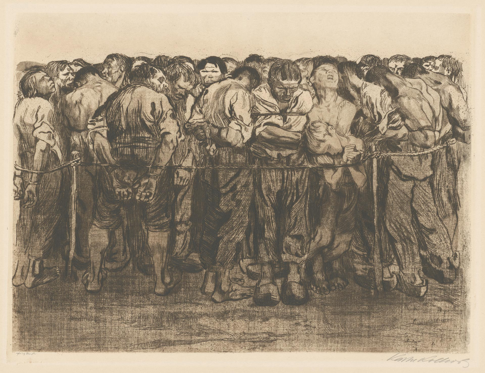 Käthe Kollwitz, The Prisoners, sheet 7 of the cycle »Peasants War«, 1908, line etching, drypoint, sandpaper and soft ground with imprint of fabric and Ziegler's transfer paper, Kn 102 IX a, Cologne Kollwitz Collection © Käthe Kollwitz Museum Köln