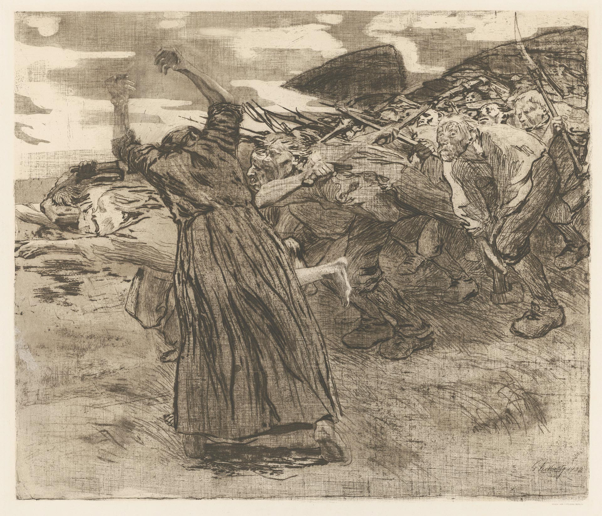 Käthe Kollwitz, Charge, sheet 5 of the cycle »Peasants War«, 1902/1903, line etching, drypoint, reservage and soft ground with imprint of two fabrics and Ziegler's transfer paper, Kn 70 VIII b, Cologne Kollwitz Collection © Käthe Kollwitz Museum Köln