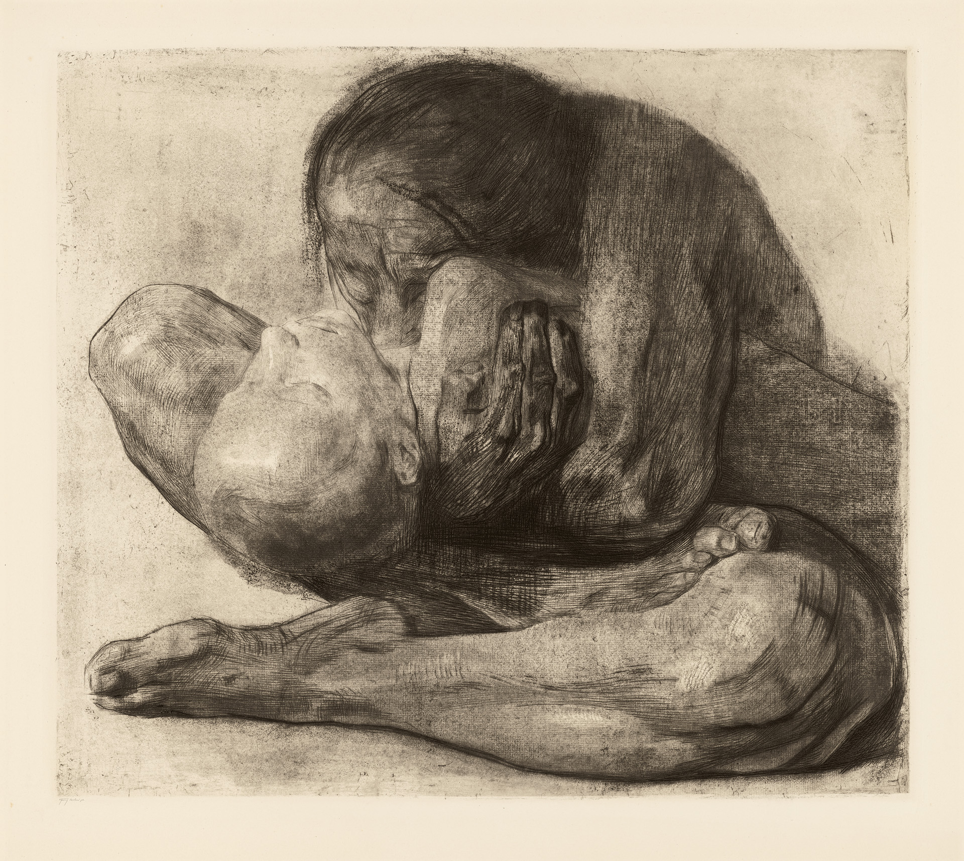 Käthe Kollwitz, Woman with dead Child, 1903, line etching, drypoint, sandpaper and soft ground with imprint of ribbed laid paper and Ziegler's transfer paper, Kn 81 VIII a, Cologne Kollwitz Collection © Käthe Kollwitz Museum Köln