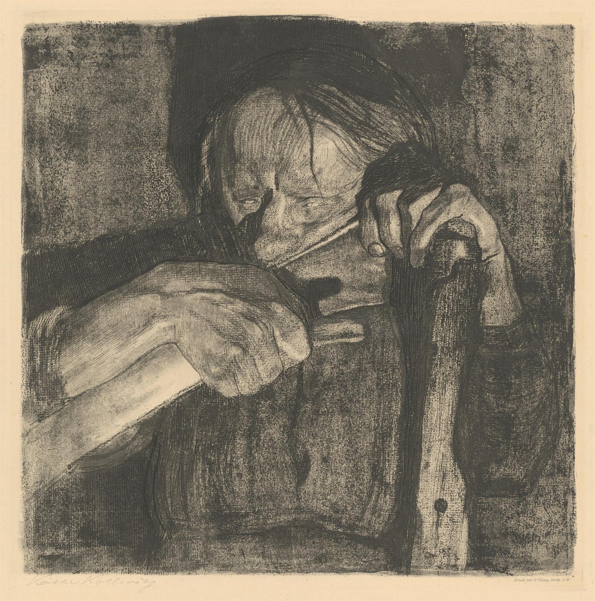 Käthe Kollwitz, Sharpening the Scythe, sheet 3 of the cycle »Peasants War«, 1908, line etching, drypoint, sandpaper, aquatint and soft ground with imprint of laid paper and Ziegler's transfer paper, Kn 88 X b, Cologne Kollwitz Collection © Käthe Kollwitz Museum Köln