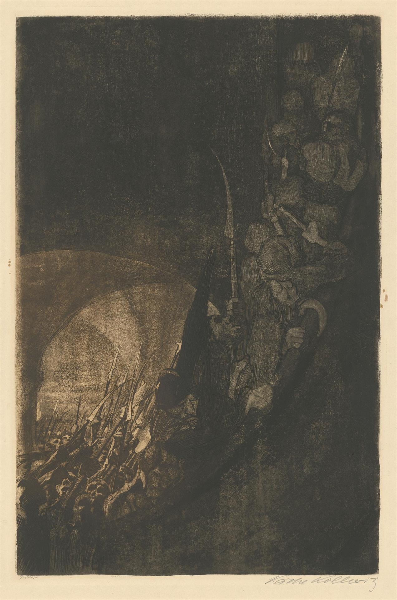 Käthe Kollwitz, Arming in a Vault, sheet 4 of the cycle »Peasants War«, 1906, bicolour etching with line etching, drypoint, aquatint and soft ground with imprint of Ziegler's transfer paper, Kn 96 VI, Cologne Kollwitz Collection © Käthe Kollwitz Museum Köln