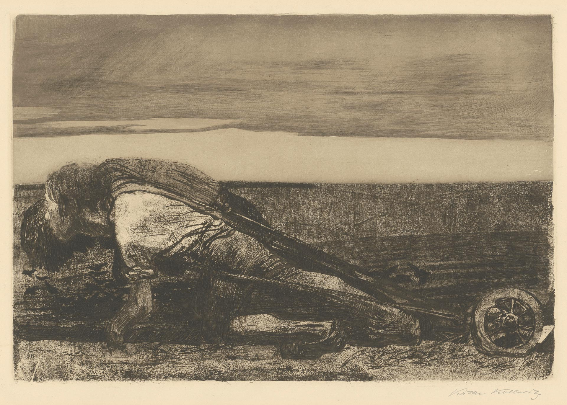 Käthe Kollwitz, The Ploughmen, sheet 1 of the cycle »Peasants War«, 1907, line etching, drypoint, aquatint, reservage, sandpaper, needle bundle and soft ground with imprint of Ziegler transfer paper, Kn 99 VIII b, Cologne Kollwitz Collection © Käthe Kollwitz Museum Köln