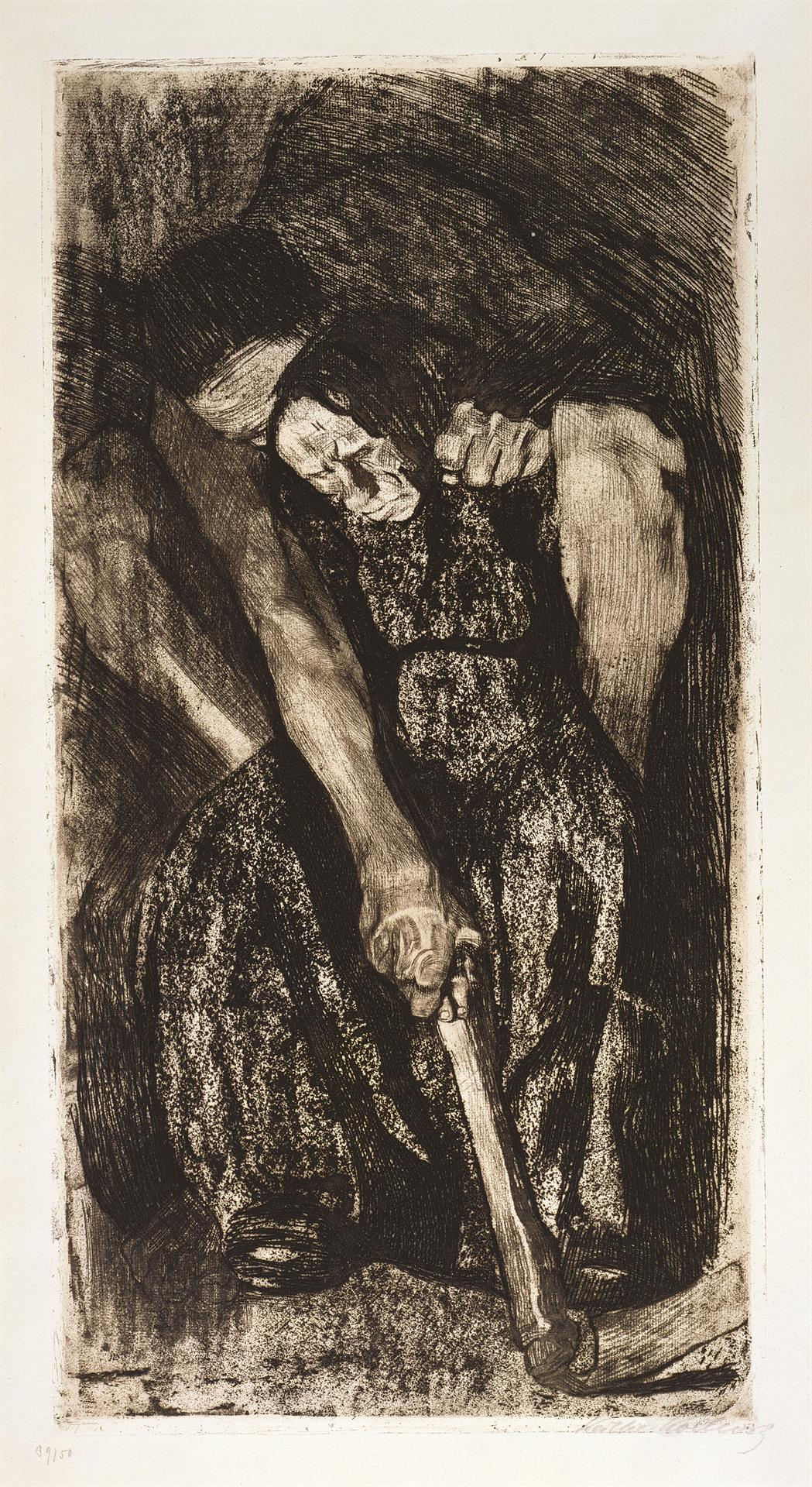 Käthe Kollwitz, Inspiration, 1904, line etching, drypoint, reservage, sandpaper and soft ground with imprint of laid paper, Kn 86 VII d, Cologne Kollwitz Collection © Käthe Kollwitz Museum Köln