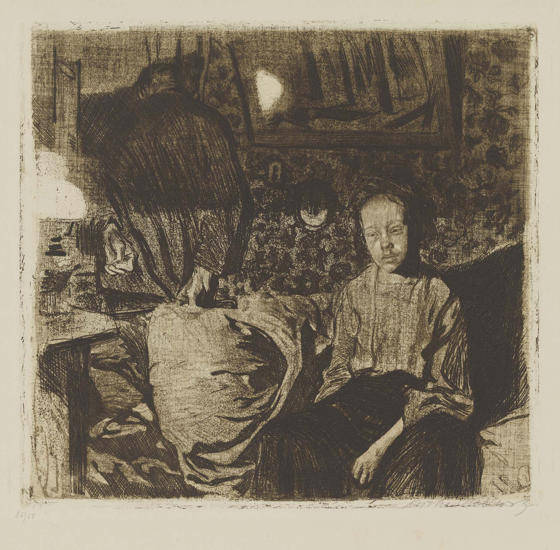 Käthe Kollwitz, Young Couple, 1904?, line etching, sandpaper, reservage and soft ground with imprint of fabric, Kn 83 III c, Cologne Kollwitz Collection © Käthe Kollwitz Museum Köln