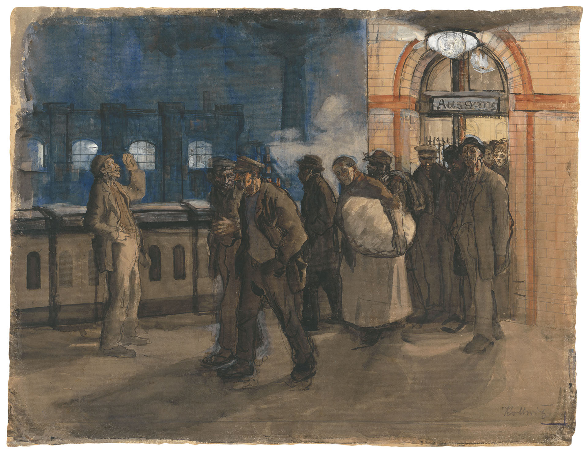 Käthe Kollwitz, Workers Coming from the Station (Prenzlauer Allee Station), 1897-1899, brush and watercolour, heightened with white, on Ingres paper, NT 146, Cologne Kollwitz Collection © Käthe Kollwitz Museum Köln