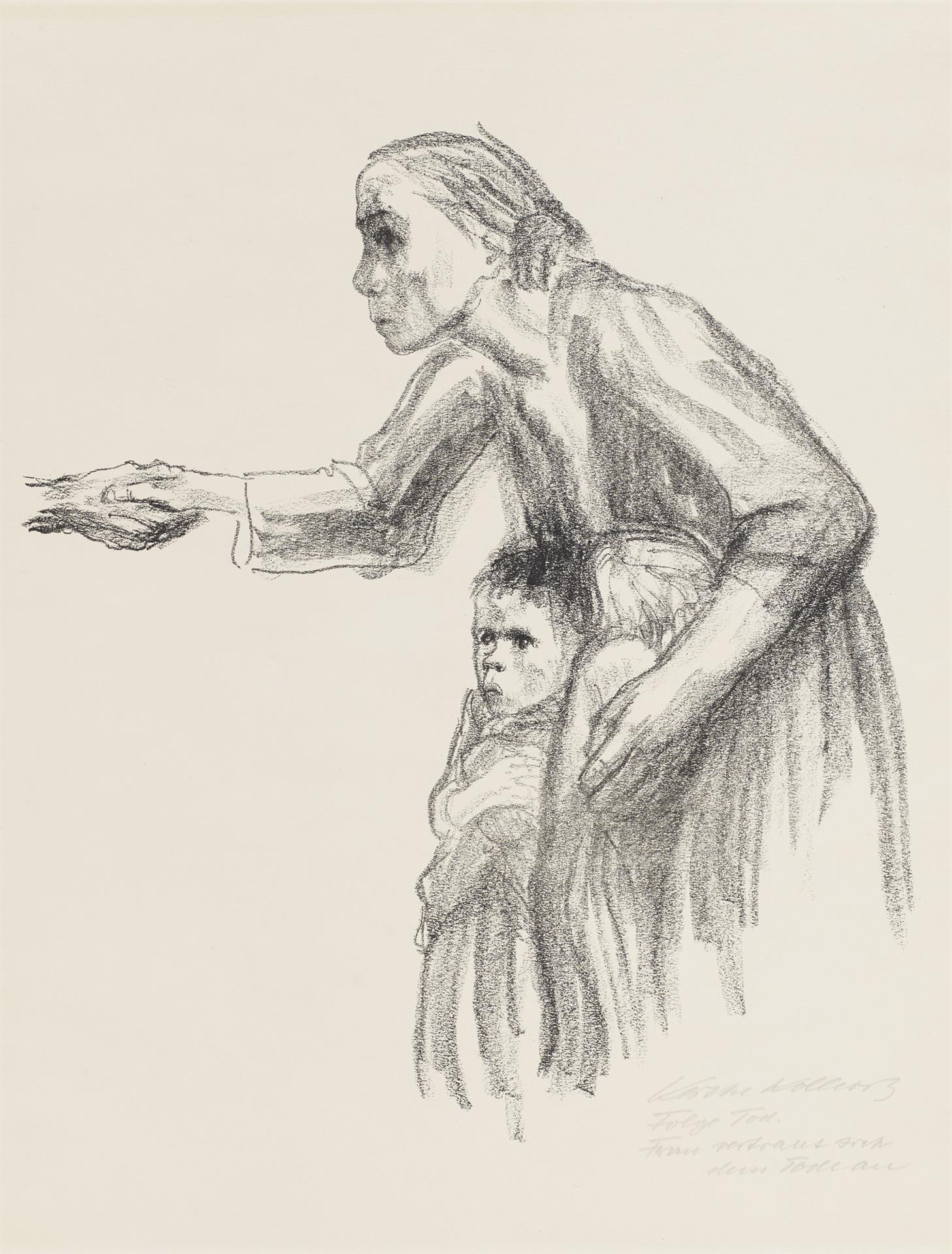 Käthe Kollwitz, Woman entrusts herself to Death, sheet 1 of the series »Death«, 1934, crayon lithograph, Kn 264 b, Cologne Kollwitz Collection © Käthe Kollwitz Museum Köln