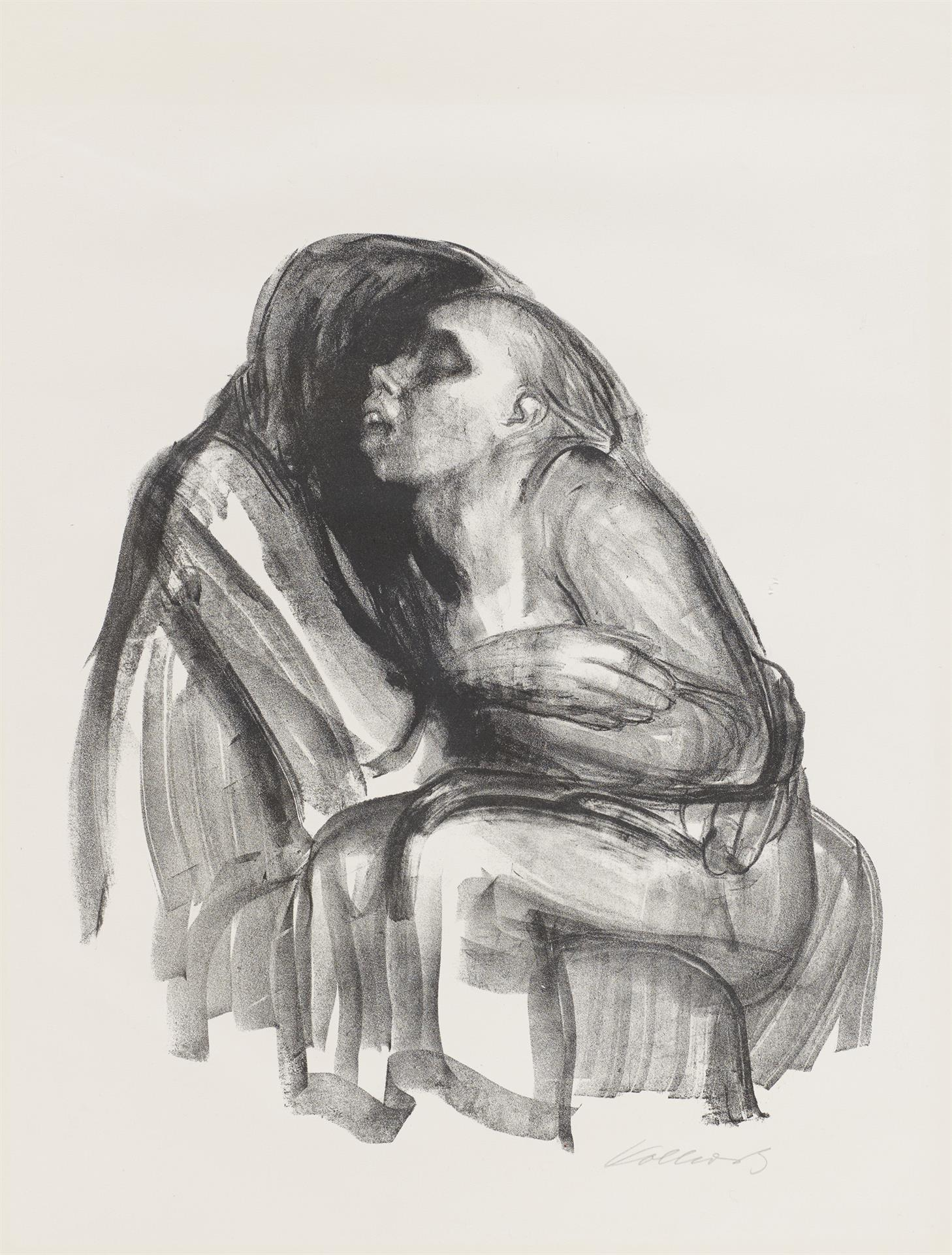Käthe Kollwitz, Young Girl in the Lap of Death, sheet 2 of the series »Death«, 1934, crayon lithograph, Kn 265 b, Cologne Kollwitz Collection © Käthe Kollwitz Museum Köln