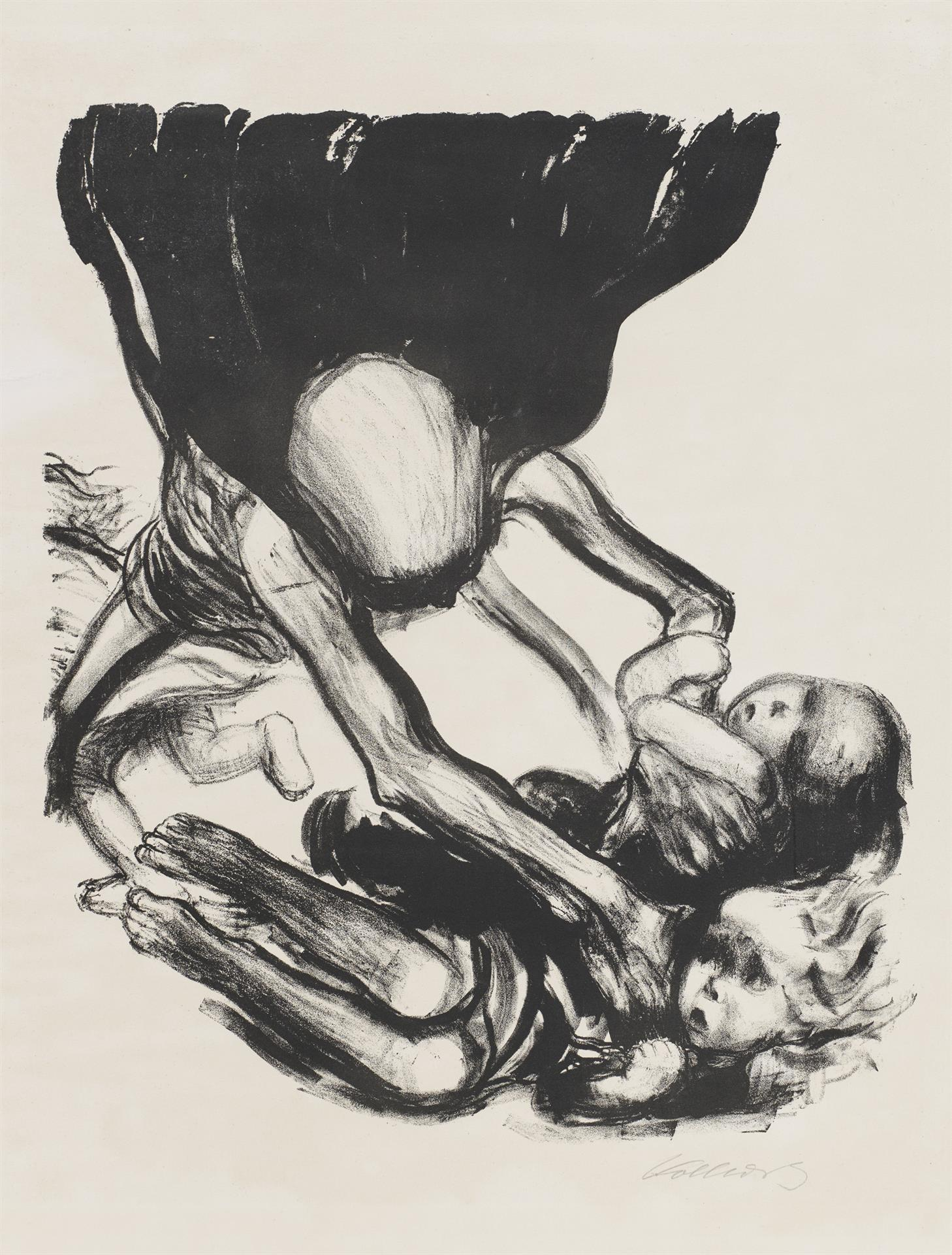 Käthe Kollwitz, Death seizes the Children, sheet 3 of the series »Death«, 1934, crayon lithograph, Kn 266 II b, Cologne Kollwitz Collection © Käthe Kollwitz Museum Köln
