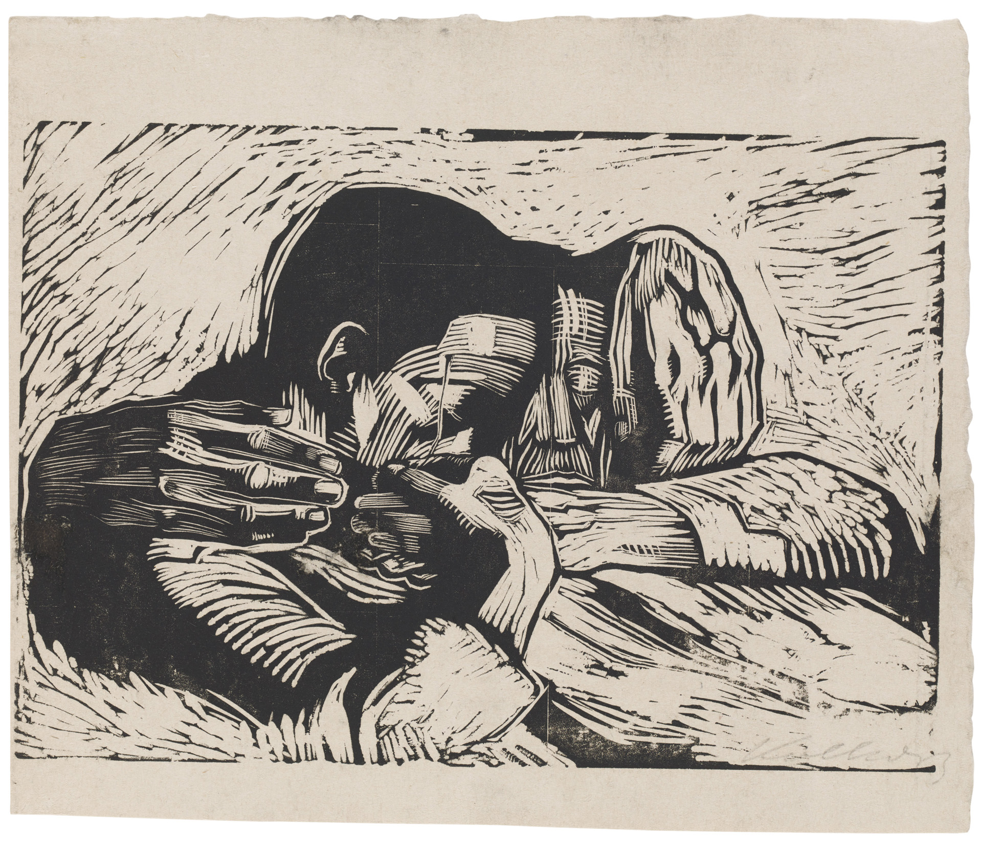 Käthe Kollwitz, Two dead Persons, 1920, woodcut, Kn 158 IV, Cologne Kollwitz Collection © Käthe Kollwitz Museum Köln