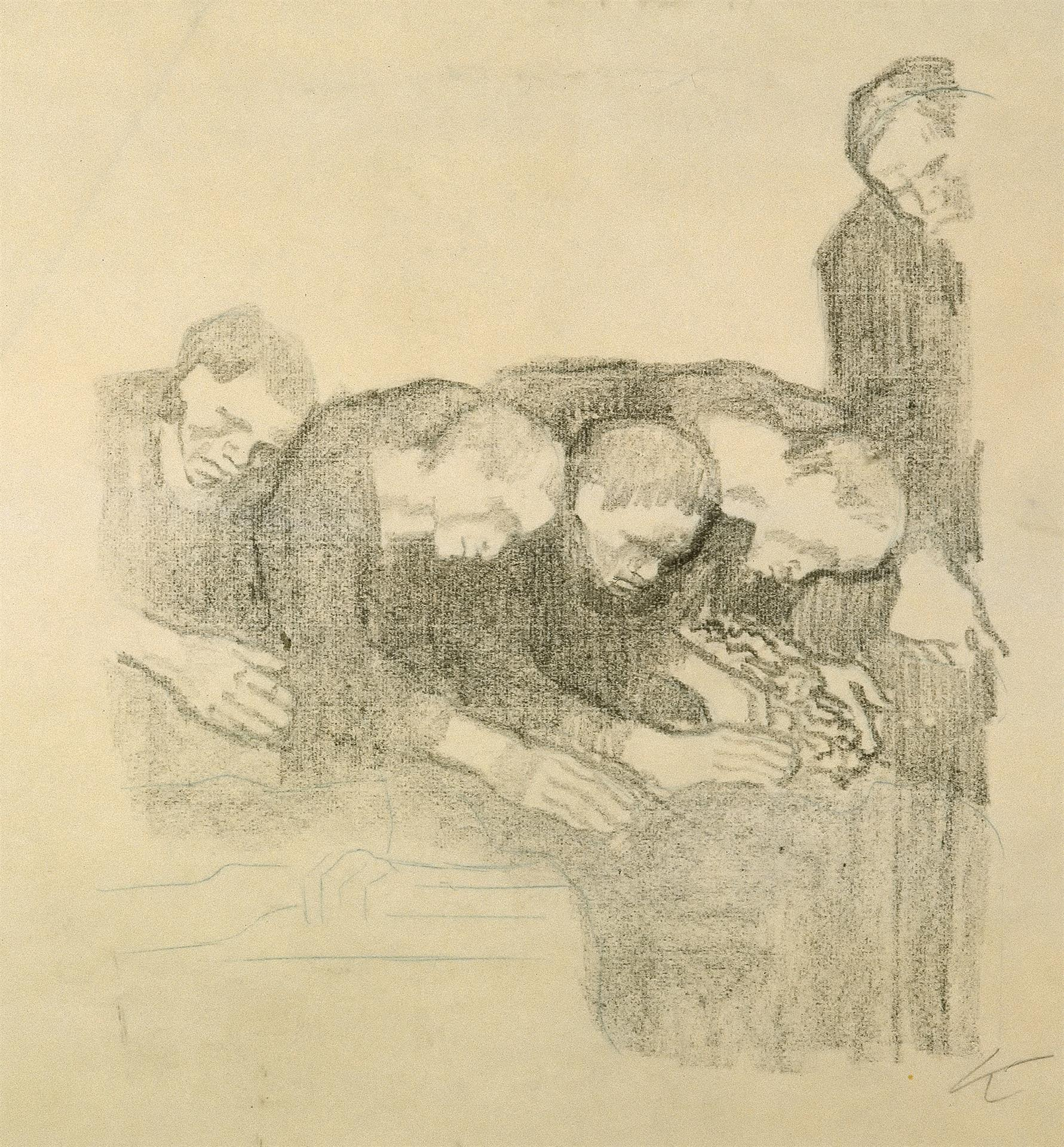 Käthe Kollwitz, In Memory of Ludwig Frank, rejected second version, 1914, crayon lithograph (transfer of an unknown drawing on ribbed laid paper), Kn 131, Cologne Kollwitz Collection © Käthe Kollwitz Museum Köln