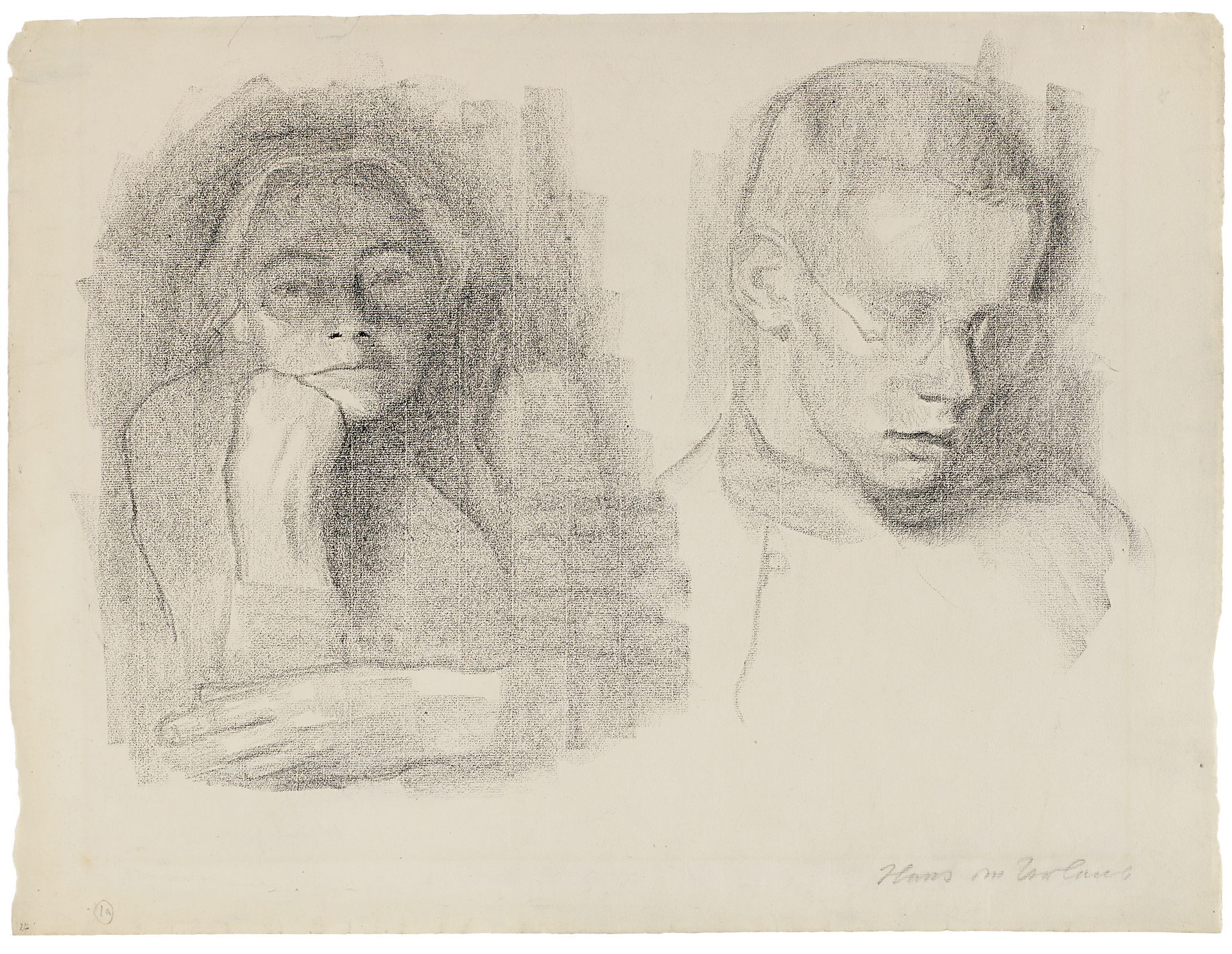 Käthe Kollwitz, Self-portrait with her Son Hans, 1914-1916, black crayon on Ingres paper, NT 732, Cologne Kollwitz Collection © Käthe Kollwitz Museum Köln