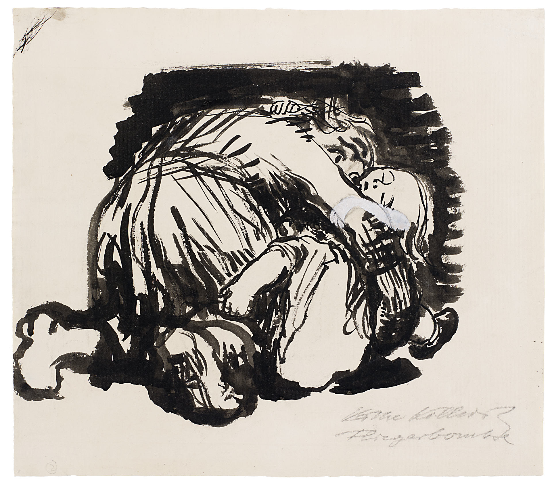 Käthe Kollwitz, Aerial Bomb, 1924/1925, brush and black ink, NT 960, Cologne Kollwitz Collection © Käthe Kollwitz Museum Köln