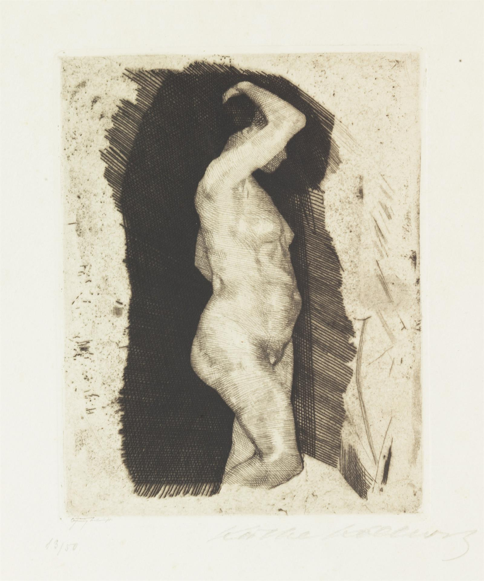 Käthe Kollwitz, Standing Female Nude, 1900, line etching and drypoint on copperplate paper, Kn 50 II c, Cologne Kollwitz Collection © Käthe Kollwitz Museum Köln