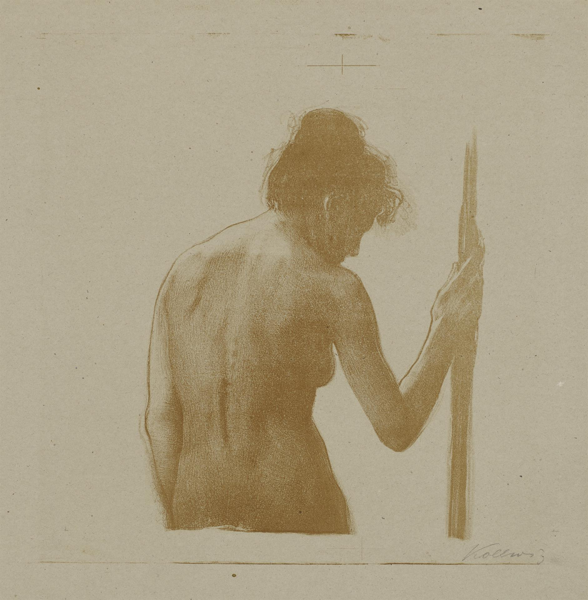 Käthe Kollwitz, Female Nude, Half-figure, with Pole, 1901?, lithograph from aluminium plates, with scratch technique in the drawing plate, reddish brown on thin Bristol cardboard, Kn 58b, Cologne Kollwitz Collection © Käthe Kollwitz Museum Köln