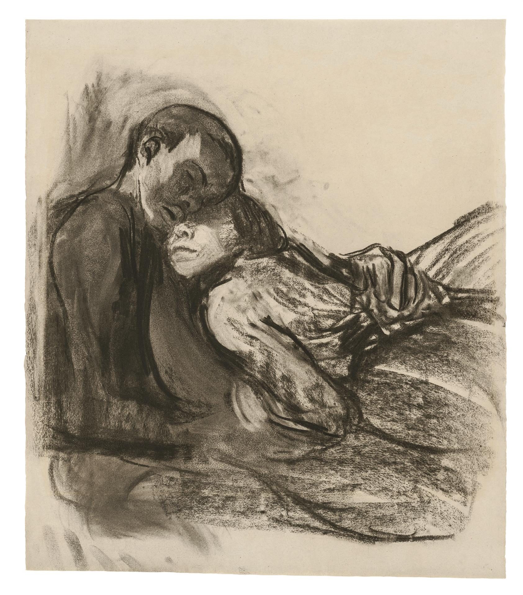Käthe Kollwitz, Pair of Lovers, huddling against each other, 1909/1910, charcoal, blotted, on grey Ingres paper, NT 559, Cologne Kollwitz Collection © Käthe Kollwitz Museum Köln
