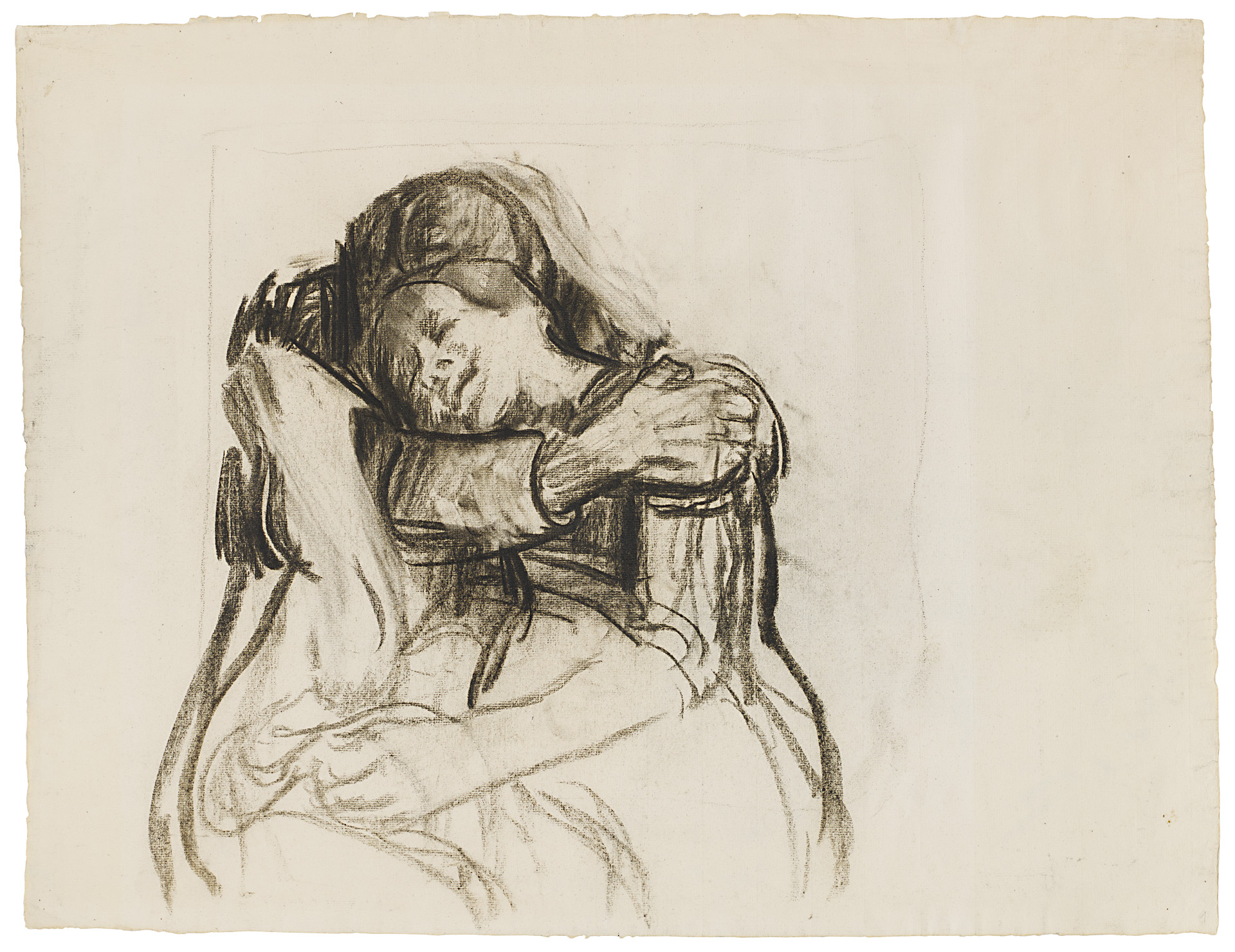 Käthe Kollwitz, The Embrace, c 1909/1910, charcoal drawing, partly blotted, on yellowish laid paper, NT (559a), Cologne Kollwitz Collection © Käthe Kollwitz Museum Köln