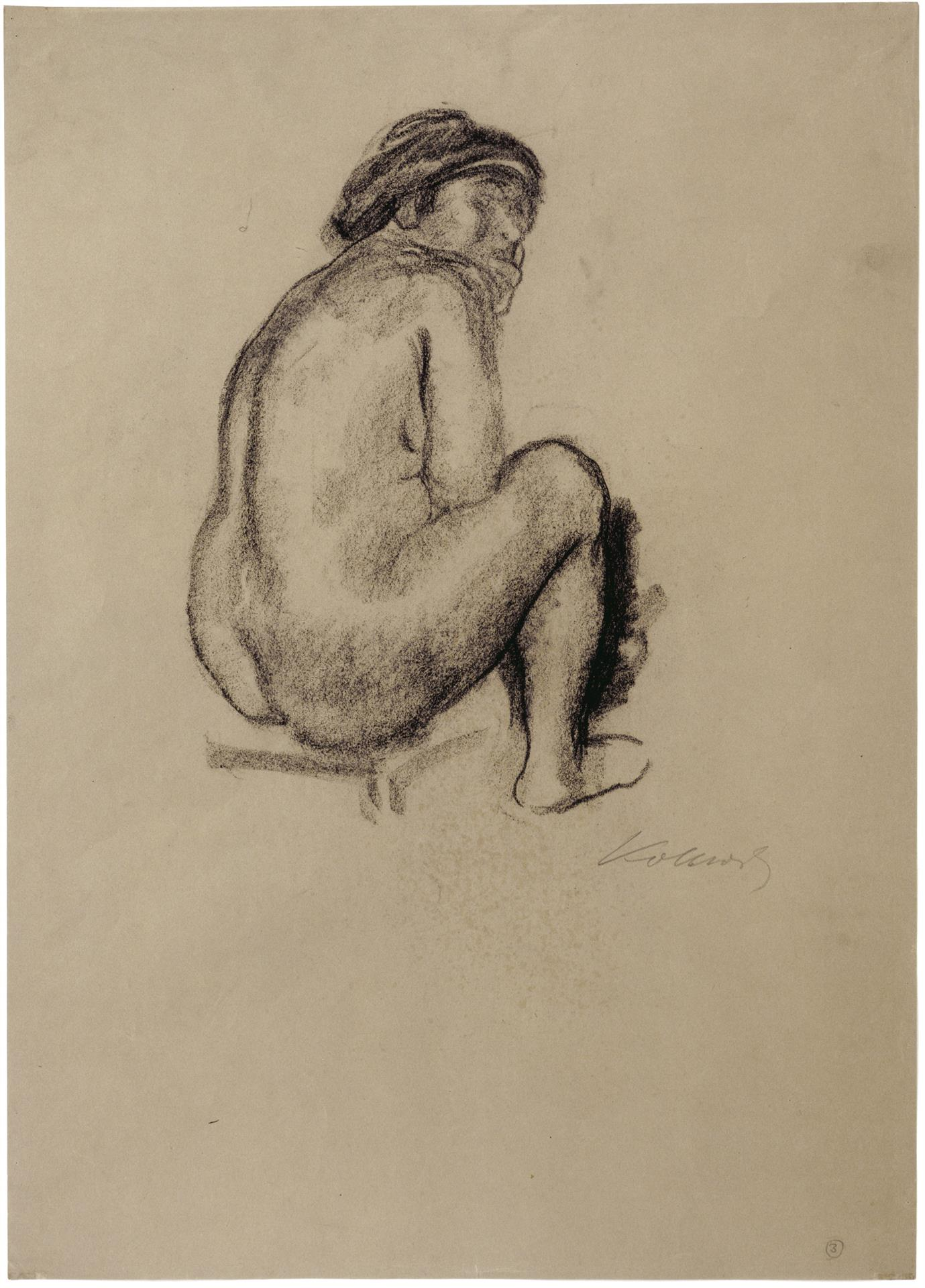 Käthe Kollwitz, Seated Female Nude from behind, looking right, c 1910-1912, charcoal on brown paper, NT 674, Cologne Kollwitz Collection © Käthe Kollwitz Museum Köln