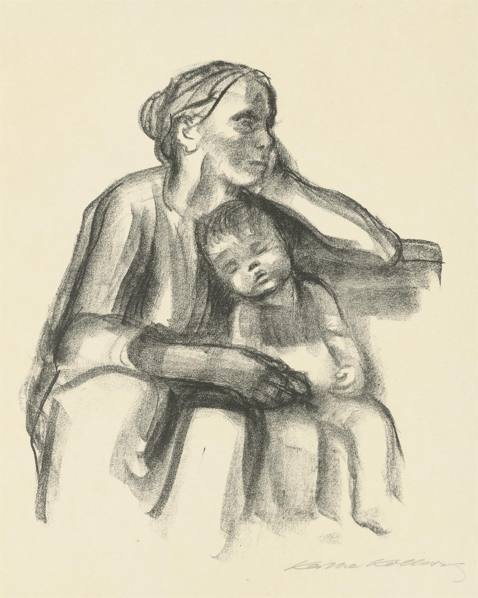 Käthe Kollwitz, Worker Woman with Sleeping Child, 1927, crayon lithograph (transfer), Kn 234 I c, Cologne Kollwitz Collection © Käthe Kollwitz Museum Köln