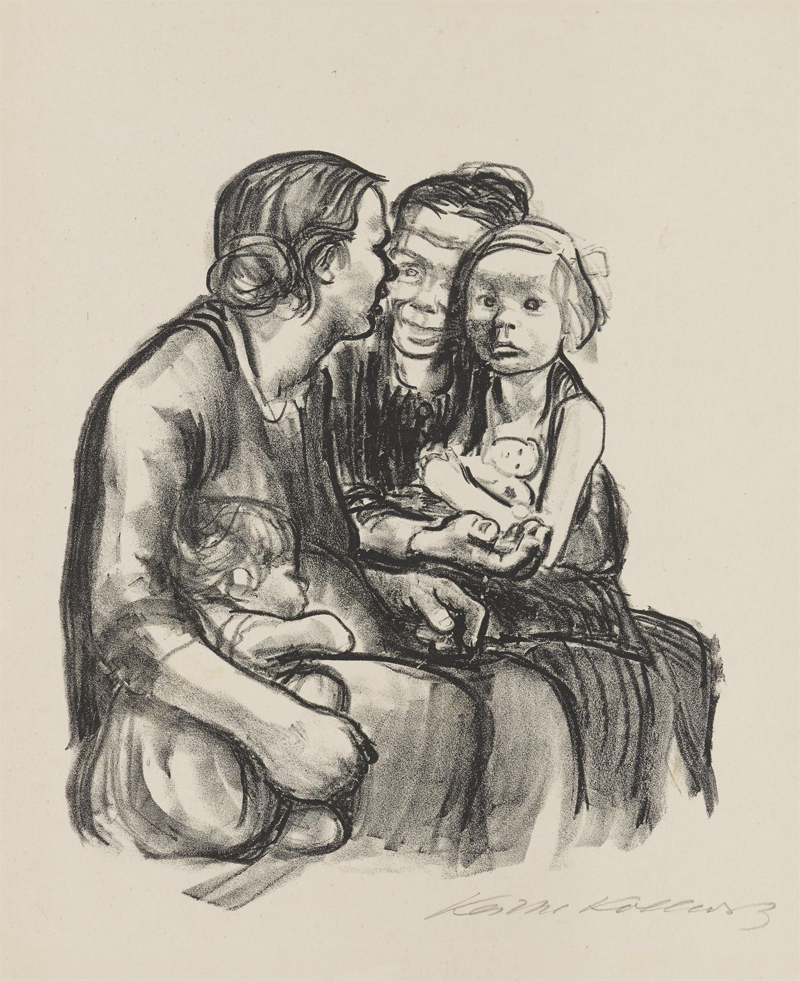 Käthe Kollwitz, Two Chatting Women with Two Children, final version, 1930, crayon lithograph (transfer), Kn 250 c, Cologne Kollwitz Collection © Käthe Kollwitz Museum Köln