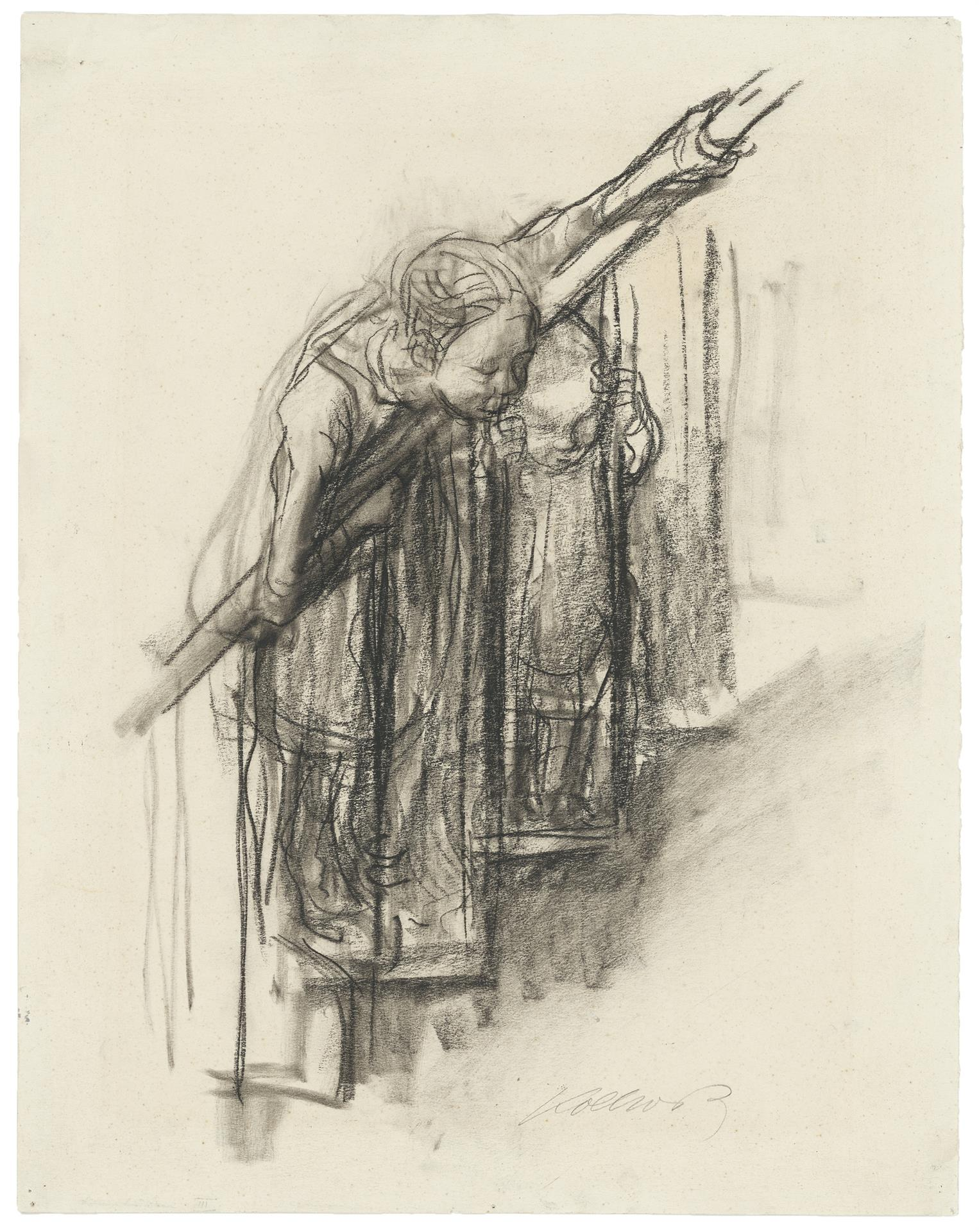 Käthe Kollwitz, Two Children at the Bannister, c 1927, charcoal on faded drawing cardboard, NT 1149, Cologne Kollwitz Collection © Käthe Kollwitz Museum Köln