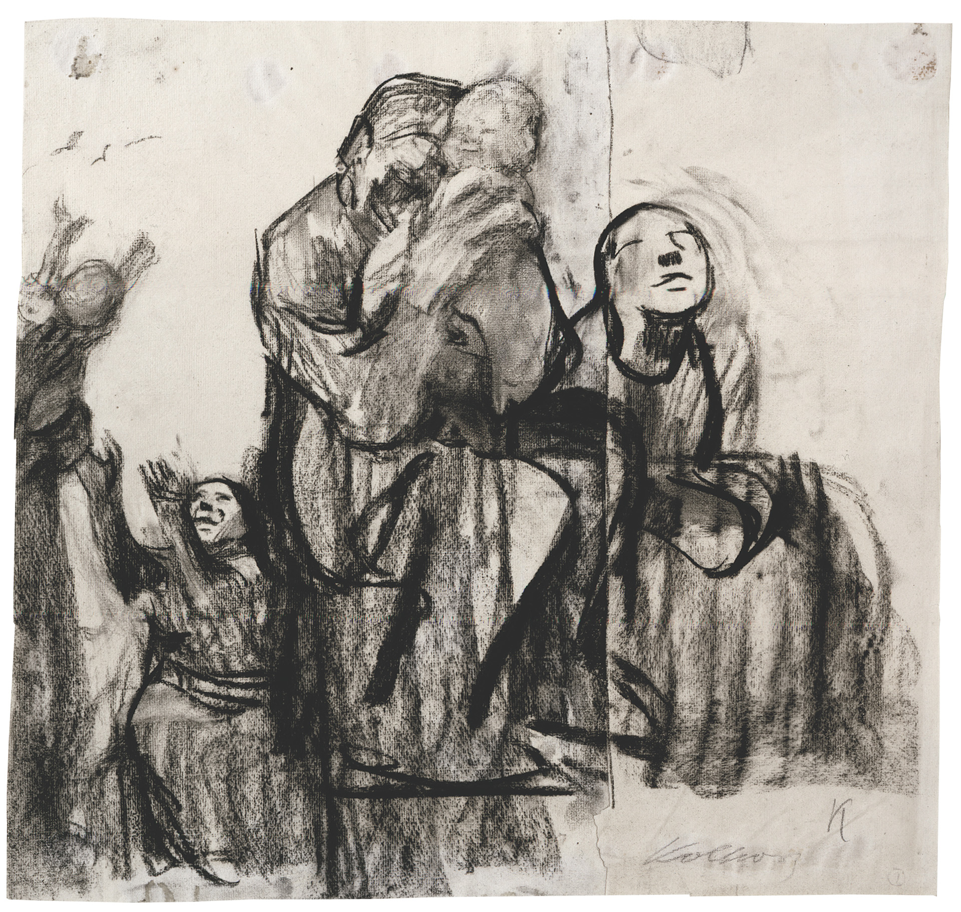 Käthe Kollwitz, Family Group, c 1928, charcoal, blotted, on Ingres paper, NT 1184, Cologne Kollwitz Collection © Käthe Kollwitz Museum Köln
