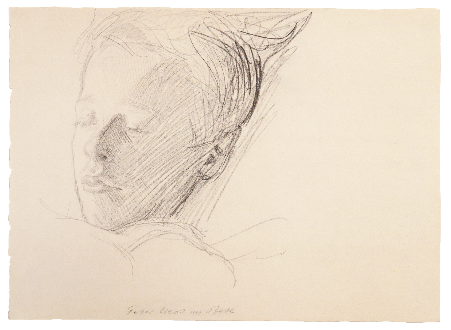 Käthe Kollwitz, Peter in his Bed, reading, c 1908, pencil on drawing paper, NT 444, Cologne Kollwitz Collection © Käthe Kollwitz Museum Köln