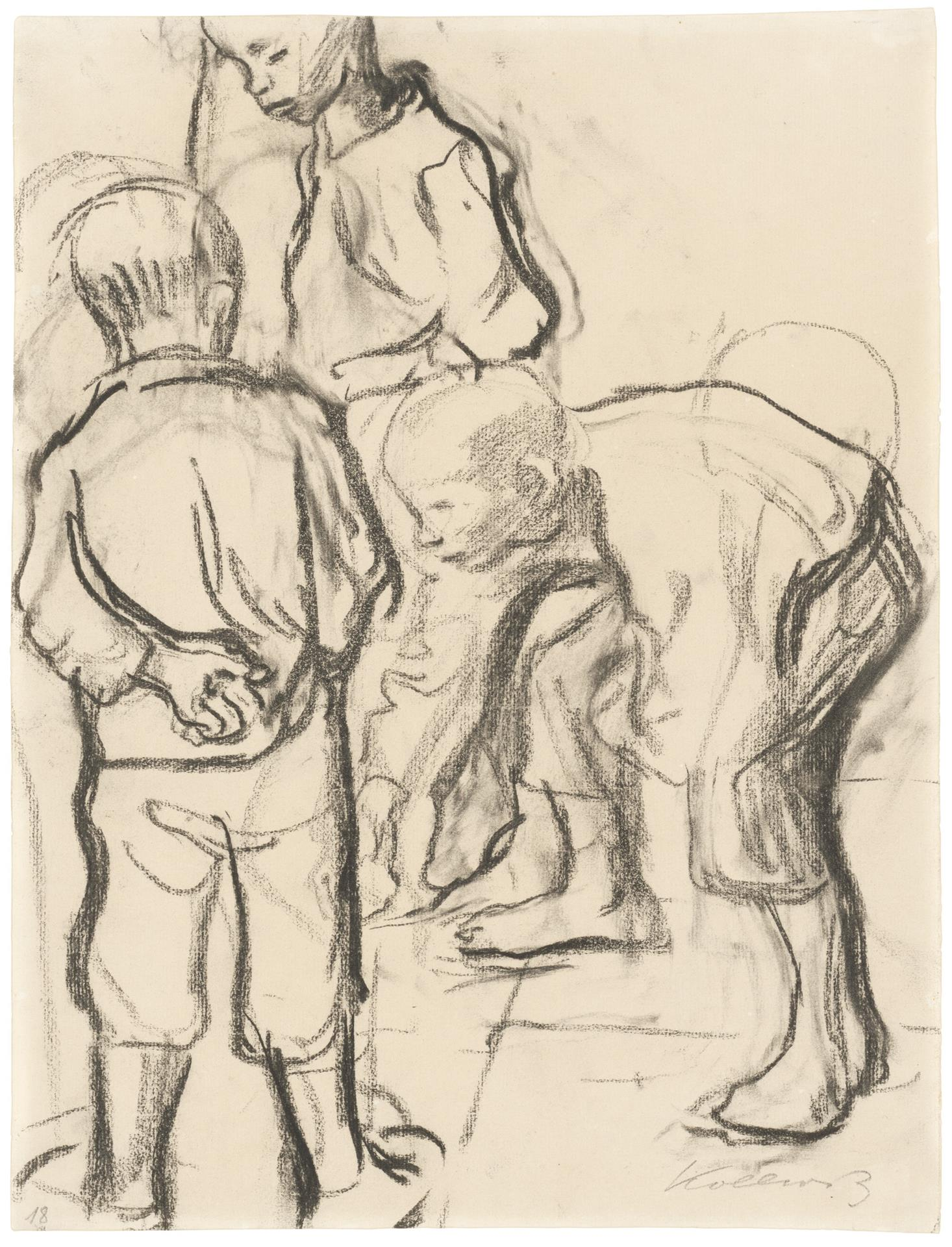 Käthe Kollwitz, Three Boys playing Marbles, 1909/1910, black chalk, NT 582, Cologne Kollwitz Collection © Käthe Kollwitz Museum Köln