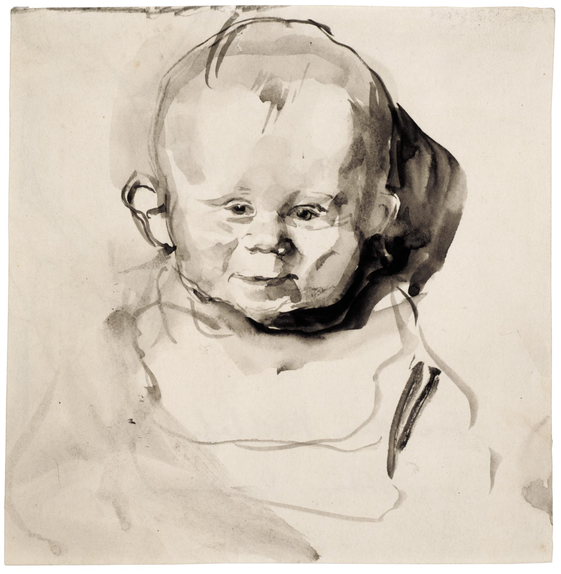 Käthe Kollwitz, Child's Head, en face, (Hans Kollwitz), 1893, brush and grey ink, washed, NT 72, Cologne Kollwitz Collection © Käthe Kollwitz Museum Köln