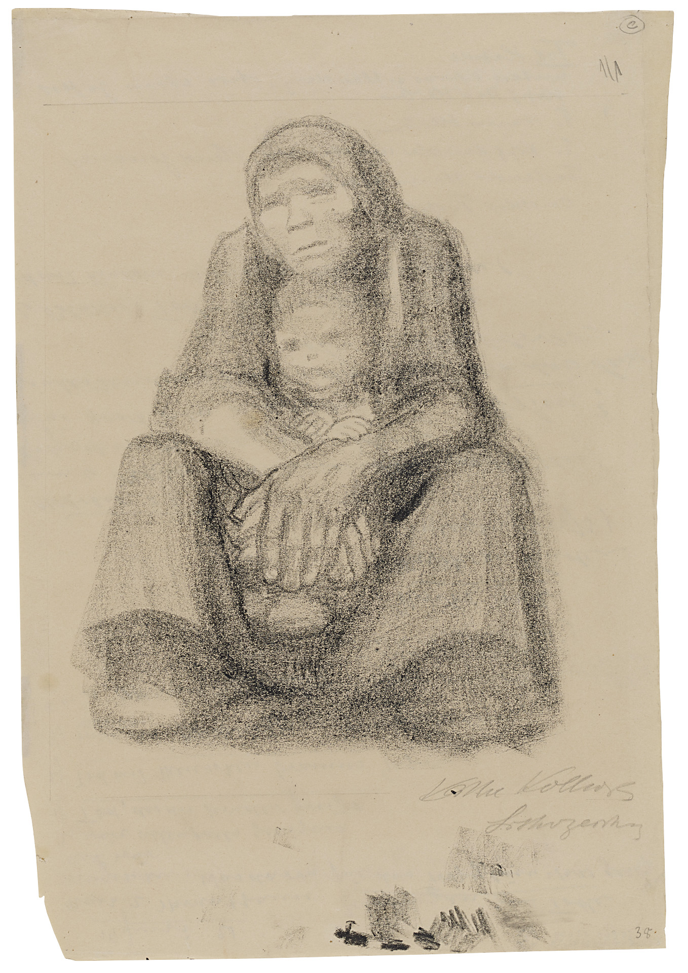 Käthe Kollwitz, Woman, seated, with Child on her Lap, 1921, lithographic drawing on brownish paper, NT 925, Cologne Kollwitz Collection © Käthe Kollwitz Museum Köln