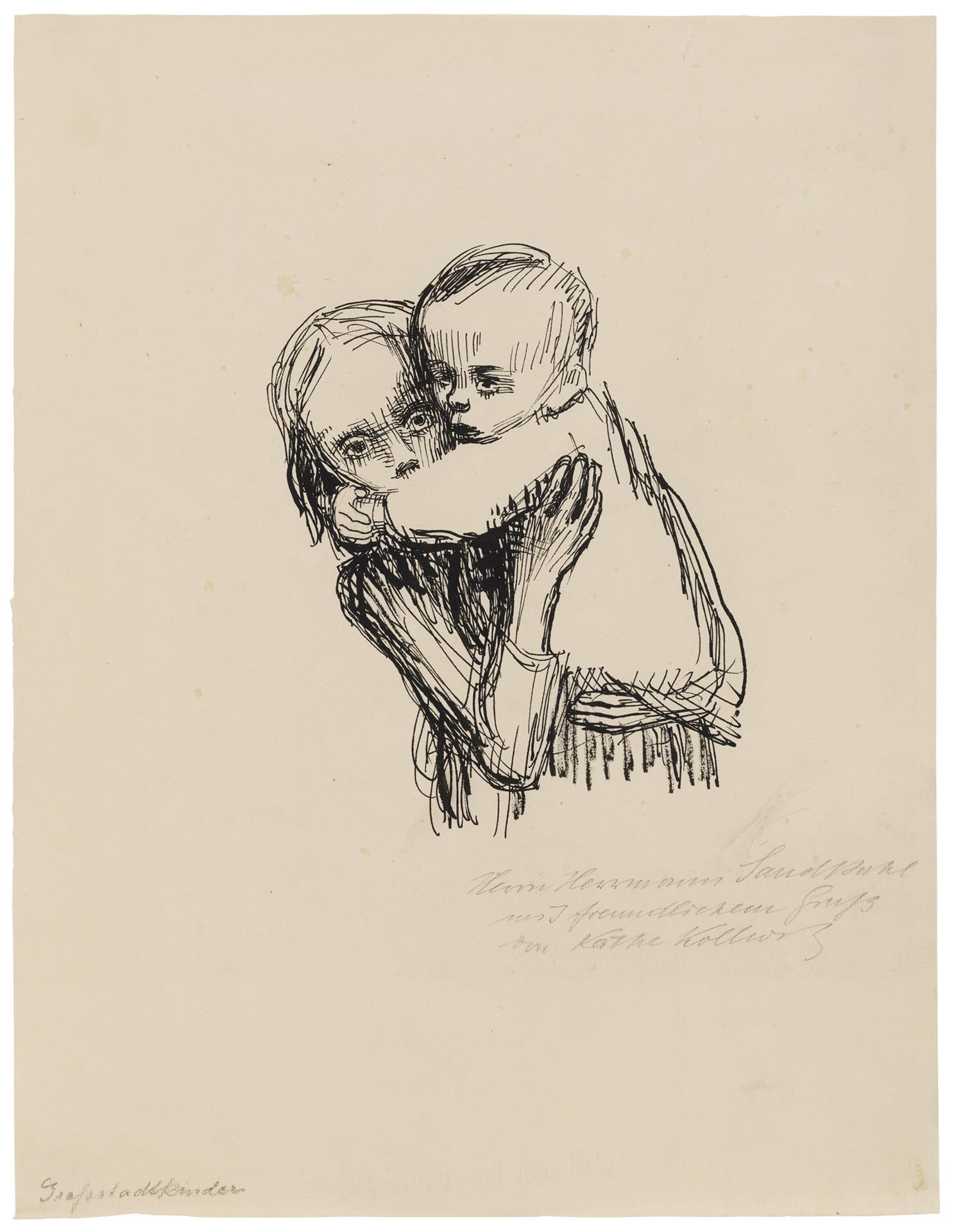 Käthe Kollwitz, Berlin Children, c 1922, pen on yellowish laid paper, NT 997a, Cologne Kollwitz Collection © Käthe Kollwitz Museum Köln